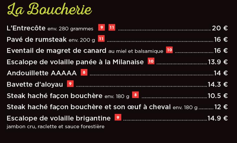 menu boucherie cesar restaurant langueux