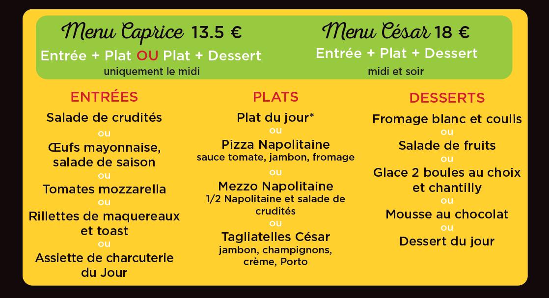 menu du restaurant césar à langueux