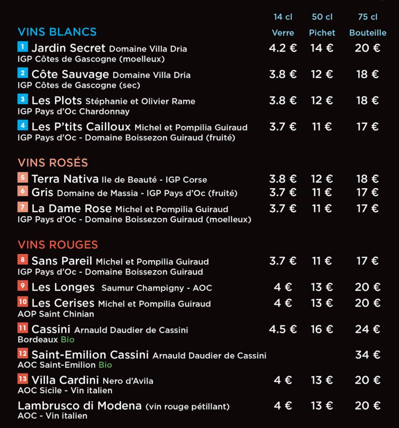 Carte des vins de la pizzeria cesar à Langueux