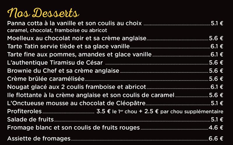 desserts de la pizzeria cesar à Langueux